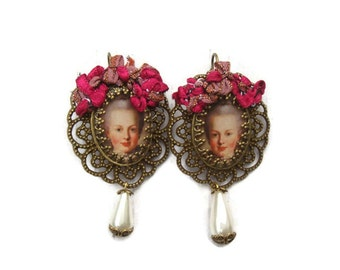 Young Marie Antoinette drop chandelier filigree pierced earrings with lever back Rococo braid trim, pearl drop beads
