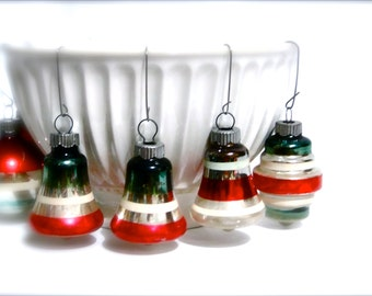 Shiney Brite Atomic Bell and Round Set Christmas Vintage Glass Ornaments / Holiday Decorations / Mixture Atomic Bell Round / Set of Seven