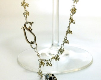Silver Pyrite Fancy Wire Wrapped Necklace with Silver Sugar Skull and Shepherd's Hook OOAK