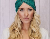 Teal Turban Headband for Women - Stretchy Soft Workout Fashion Hair Bands (HB-100)