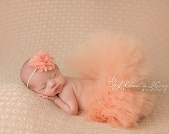 Choose Your Color Tutu & Headband Set. Newborn Photo Prop. Birthday, Flower Girl, Baby Shower Gift. Ivory, Aqua, Purple, Pink, Grey, Rose.