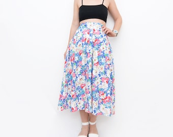 Vintage floral high waist 80s mid length summer skirt