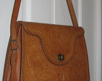 HAND TOOLED Thick LEATHER Purse // Huge Vintage Clutch 70's Mexican Western Brown Structured 1970's Cowgirl Mexico Hippie Boho Oversized