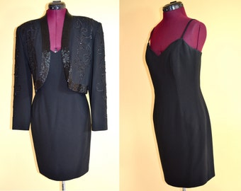 1980s Vintage d'ore by Della Roufogali Black Dress and Beaded Jacket size S M bust 35