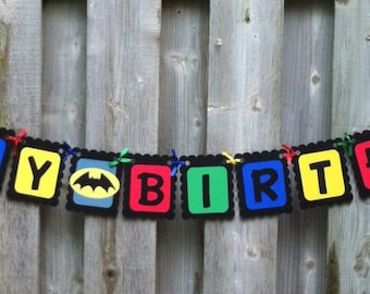 Superhero theme Happy Birthday banner, Superhero birthday party decorations, Superhero banners, First Birthday, Baby Shower,