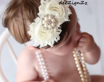 Girls Hair Accessories-Baptism Headband-Ivory-Shabby-Flower-Pearl Headband-Christening-Wedding-Flowers for Hair-Bridesmaid-Flower Girl, Lace