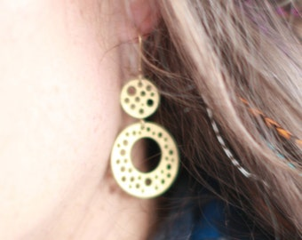 Matte Gold Plated Circles Earrings