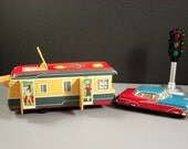Early Yonezawa Yone Friction Toy Car with Camper // Tinplate Litho Japan 1950s // from Successionary