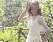 Ivory Bohemian Wedding Dress  Lace Wedding Dress Long Gown Boho Gown Bridal Gypsy Wedding Dress - Handmade by SuzannaM Designs