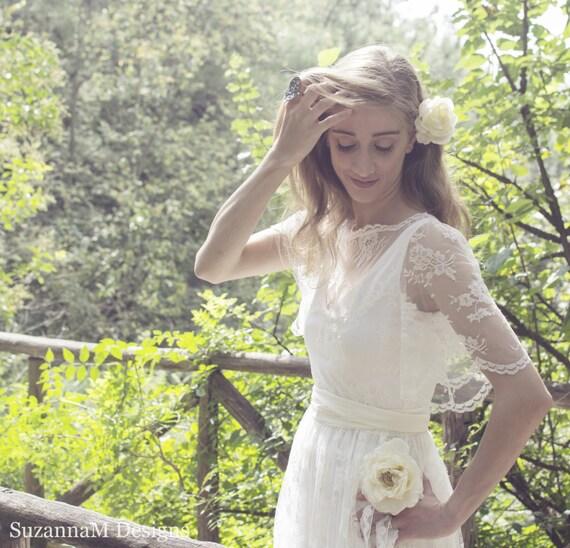 "Boho Wedding Dress, SuzannaM Designs, Ivory Bohemian Wedding Dress, Lace Wedding Dress, Long Gown, Boho Gown, Gypsy Wedding Dress, ""Amelie"""