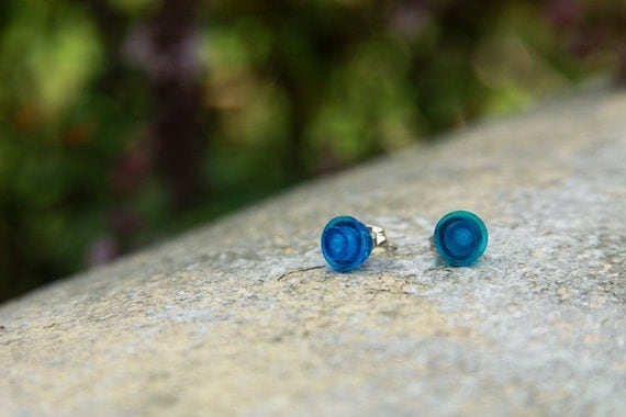 Blue Lego Stud Earrings
