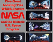 BowTies Made From NASA Fabrics - Five Historic Space Exploration Bow Ties, Apollo to The International Space Station - U.S.SHIPPlNG 1.49