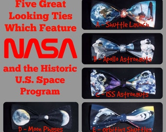 BowTies Made From NASA Fabrics - Five Historic Space Exploration Bow Ties, Apollo to The International Space Station - U.S.SHIPPlNG 1.99