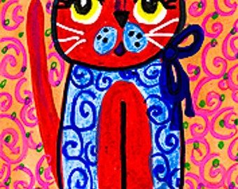 Cat Print, Folk Art Cat, Whimsical Cat Art, Funny Animal Art, Red And Blue, Children's Room Decor, Red and Blue Kitty by Paula DiLeo_1123103