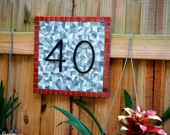 Red and Gray Mosaic Address Sign
