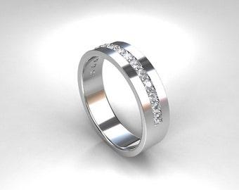 0.45ct diamond wedding band, palladium ring, wide ring, men's diamond ring, men's wedding ring, eternity, modern, commitment, palladium band