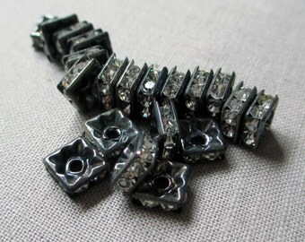 6 mm rhinestone square rondelle beads clear oxidized silver pewter vintage style small jewelry supplies, lot of 20 pcs