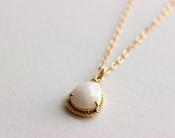 Gold Necklace - Stone Necklace - Long Necklace - Opaque White Glass Stone Pendant on Matte Gold Chain Necklace