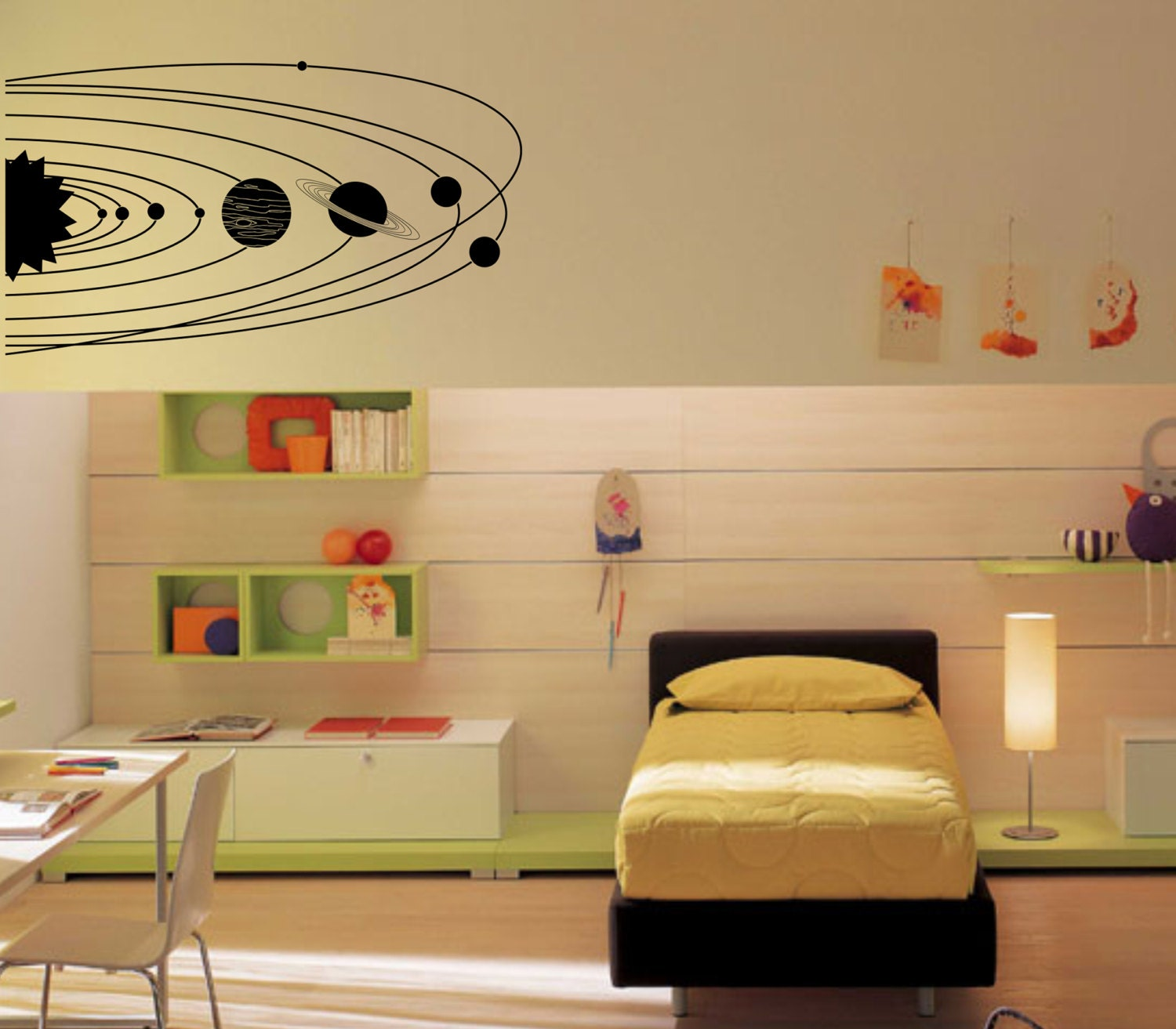 large solar system with planets and orbits wall decal vinyl. Black Bedroom Furniture Sets. Home Design Ideas