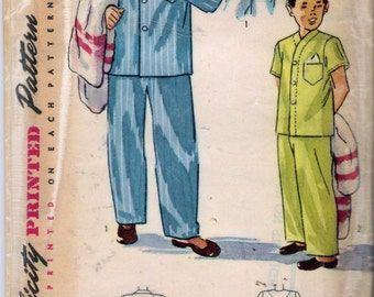 Vintage 1948 Simplicity 2541 Boy's Pajamas 2 Styles Sewing Pattern Size 6 Chest 24""