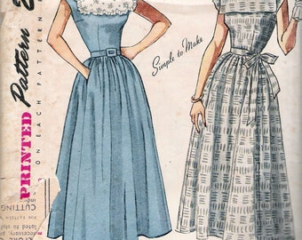 Vintage 1949 Simplicity 2908 Square Neckline Drindle Skirt Dress Sewing Pattern Size 15 Bust 33""