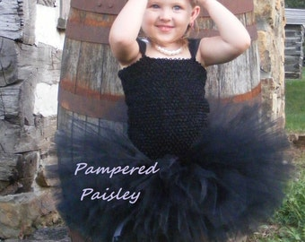 Black tutu dress - flower girl dress