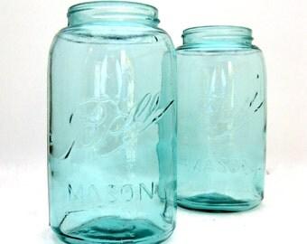 Mason Jar, Vintage Aqua Blue Ball Jar, Ball Mason Jar, Quart Size Canning Jar, Antique Blue Ball Jar, Ball Mason Quart, Choose Your Quantity