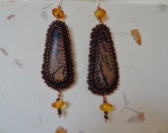 Long, Chinese Paint Brush and Amber,Beaded Embroidery Earrings