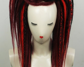 Red & Black Synthetic Dread Falls with Criss-Crossed. 20 inches Long.