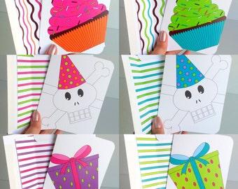 Birthday Greeting Card Set 6 Birthday Card Colorful Birthday Card Set Assorted Birthday Card Cheerful Birthday Wishes Fun Birthday Greeting