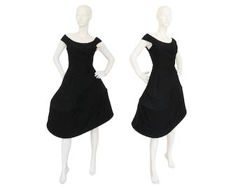 Iconic Yohji Yamamoto A/W 1990/91 Vintage Black Wool Swirl Dress Asymmetrical Skirt Hoops Evening Museum Piece Size 4-6 XS-S