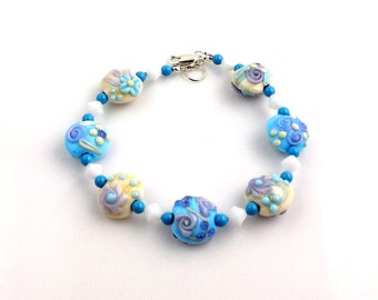 Blue and White Beaded Floral Lampwork Bracelet, Floral Bracelet, Fashion Jewelry, Career Wear, Gifts, Glass Bead Bracelet