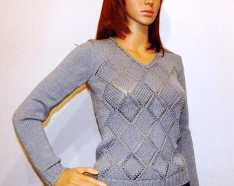 Women clothing, women knit pullovers, women pullover sweaters, gift for women, fashion gift, grey knit pullover, hand knit sweater