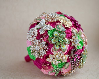 Brooch bouquet. Hot Pink and Lime wedding brooch bouquet