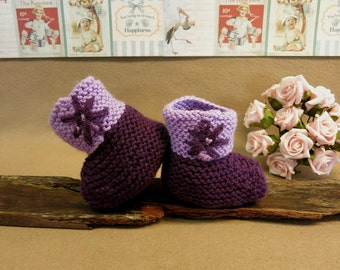Knitted Baby Booties, Purple Newborn Shoes, Embroidered Wool Flower, Baby Photo Props, Hi Top Booties, Handmade Toddler Slippers