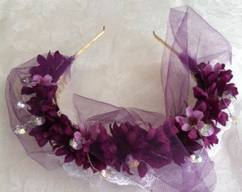 Purple Passion Headband With Lace