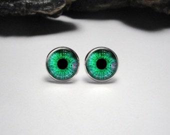 Green Eye Stud Earrings Eye 12mm Earrings Green Eye Dangle Earrings Green Eye Silver Pendant Earrings