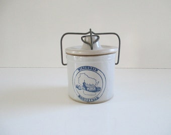 Wisconsin Cheese Crock ~ Vintage Stoneware, Grey & Blue, Clamp Storage Container Canister / Rustic Farmhouse Country Cottage Kitchen Decor
