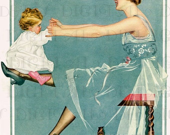 Beautiful Mother Balancing Her Baby On Her Leg! Coles Phillips. Perfect for MOTHER'S DAY. Digital Vintage Illustration Download.