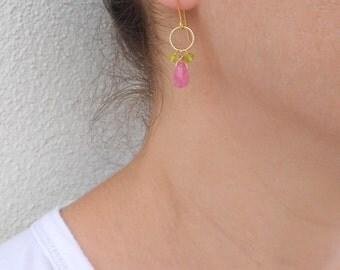 Summer SALE - Pink jade earrings, Gold loop earrings, Jade drop earrings