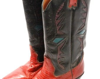 SALE Cowboy Boots // Leather Boots // Red and Black // Inlay Boots // Country Western // Boho Shoes // Southwestern // WOMENS SIZE 6.5