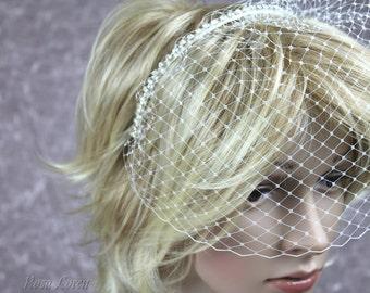 Birdcage Veil on Alice Band, Cage Veil Short, Short Veil, Bird Cage Veil, Ivory Wedding Veil, Short Veil