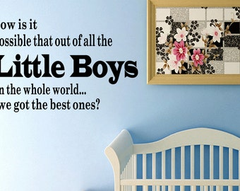Wall Quotes Out of All the Little Boys in the World We Got the Best Ones Removable Wall Sticker Nursery Wall Decal Quote (C42)