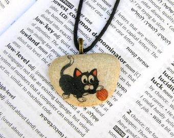Cat necklace cat pendant cat jewelry child jewelry animal necklace decorated rock black cat decorated stone stone jewelry unique stone gift