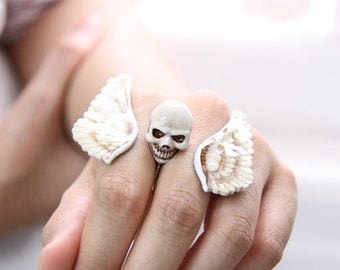 Bird Wings with Skull Double Ring / Hand-Painted Color / Jewelry