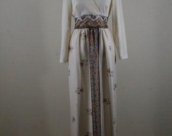 1970s Border Print Maxi Dress, Surplice Top