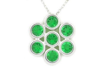1.75 Carat Emerald Bezel Pendant .925 Sterling Silver Rhodium Finish