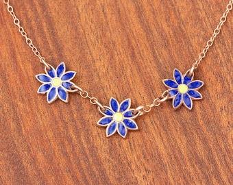 Enameled Triple Daisy Necklace in Indigo