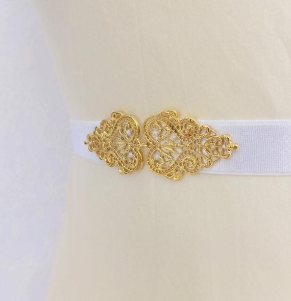 Elastic waist belt. Vintage style filigree gold buckle. Bridal belt. wedding belt. White belt. Bridesmaids belt. Gold belt. Dress belt.