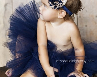 Regal By Midnight {Tutu Set} Short & Sweet Navy Tutu and Headband || baby tutu set || birthday tutu || girl tutu || nb-4T